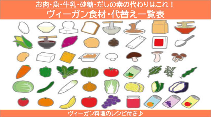 ヴィーガン食材・代替え一覧表