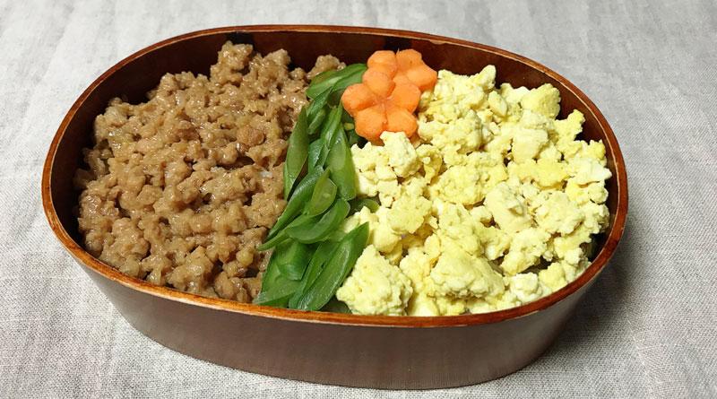 お弁当の定番♪大豆ミートの3色そぼろ丼