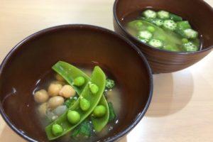 スナップエンドウとひよこ豆の味噌汁