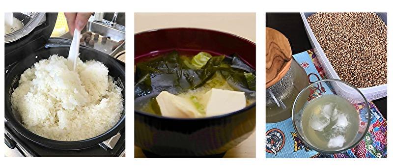 穀物を味わおう 白米・お味噌汁・自家製麦茶